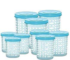 Aqua Blue Color Storex Plastic Container Set of 9 PCS (500ML,1000ML,1500ML)  – MILTON  #kitchenstorage #containers #boxes Kitchen Storage Containers, Plastic Containers, Aqua Blue Color, Boxes, Crates, Box, Cases, Plastic Cups, Boxing