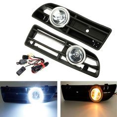 A White LED Fog Lights Front Bumper Grille For VW Bora 98 02 Angel Eyes Lamp Automotive Moto