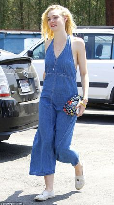 So Seventies! Make-up free Elle Fanning keeps cool in a denim dress #dailymail