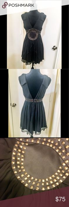 BCBGeneration Black Studded Chiffon Cocktail Dress Super cute black crinkle chiffon cocktail dress with waterfall draping in the front. Satin waist detail that circles the entires dress and is embellished with antique brass tone studs. V-neck with zipper in back. Fully lined and machine washable. Brand-new condition, never worn. This dress is so pretty and unique! ⚡️🌹⚡️🌹⚡️ BCBGeneration Dresses Mini