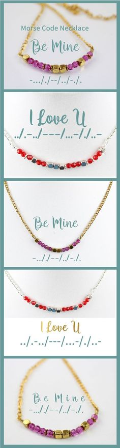 Morse Code Necklaces a perfect Valentine's Day Gift. I love You necklace or Be Mine.