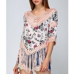 Floral Crochet Fringe Top Floral print too with crochet inserts and a fringe hem. Available in pink and navy. This listing is for the PINK. Brand new. True to size but a loose fit. NO TRADES DON'T ASK. Bare Anthology Tops Blouses