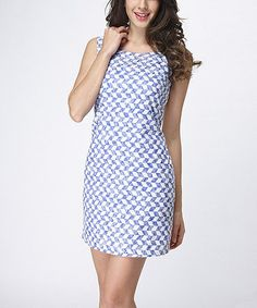 Look what I found on #zulily! Blue & White Checkerboard Sleeveless Dress - Women #zulilyfinds