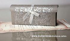 invitaciones de boda pergamino en caja gris invitaciones de boda  invitaciones de boda Barcelona