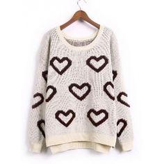 Khaki Fashion Casual Sweetheart Knitting Korean Style One Size Sweater... ($24) ❤ liked on Polyvore