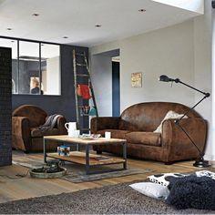 Table basse, double plateau, en noyer massif abouté et acier, hiba La Redoute Interieurs | La Redoute