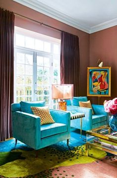 "House tour: the elegant home of designer Peter Mikic making pink walls cool: As a template, Price was inspired by Mikic's own Notting Hill home. ""Filled with scenes of colour and texture, it's eclectic, it's chic,"" says Price. Mikic laughs. ""It's easy to make things look special and beautiful but for me, the most important thing is that it's also very comfortable,"" he asserts."