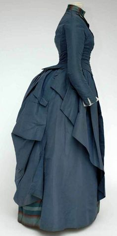 Day dress, ca. 1885-90. Beautiful blue, love the stripes peeking out in the back...must find more views.