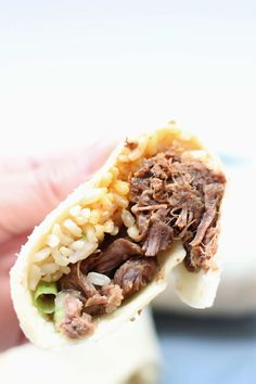 Instant Pot Korean BBQ Burrito--tender shredded beef roll up in a soft tortilla with rice, cabbage and sriracha mayo. A combination that tastes absolutely amazing! Pressure Cooker Recipes, Pressure Cooking, Slow Cooking, Asian Cooking, Barbecue Chicken Flatbread, Beef Recipes, Cooking Recipes, Korean Recipes