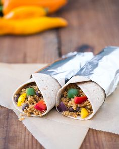 Quinoa Black Bean Burritos  I like the idea of putting these in the panini press to crisp them up a bit.