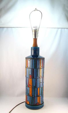VINTAGE MID CENTURY MODERNIST ITALY ART POTTERY LAMP SIGNED BITOSSI RAYMOR ? MCM