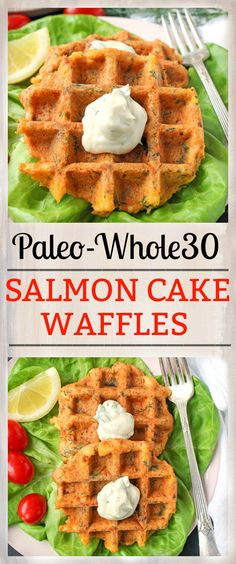 These Paleo Whole30 Salmon Cake Waffles are healthy, delicious, and so quick! Gluten free, dairy free, low fodmap, and low carb.