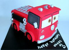 Fire truck cake Red from Cars Baking Cupcakes, Cupcake Cakes, Fire Engine Cake, Super Mario Cake, Camping Cakes, Lego Fire, Nautical Cake, Candy Popcorn, Birthday Cakes