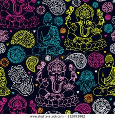 Seamless india travel icon hand drawn illustration background pattern in vector - stock vector