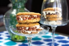 Ice Cream Sandwiches with Candied Bacon, you can use mini chips instead of bacon too. But you've got to try the candied bacon!