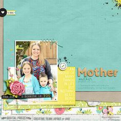 Digital scrapbook layout idea using Project Grateful Enfold collection.