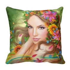Pillow Fantasy Beautiful fairy woman with flowers