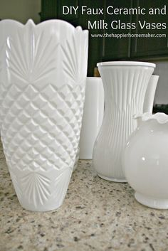 DIY White Faux Ceramic and Milk Glass Vases - Use Rustoleum universal in gloss white spray paint