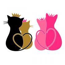 Valentine Cat Tails Heart Couple SVG Cuttable Design