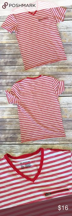 Men's INC Striped Tee Men's INC Ivory and red striped tee . V Neck size small INC International Concepts Shirts Tees - Short Sleeve