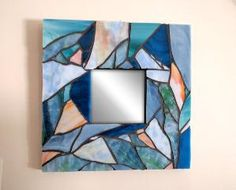 Blue Mosaic Mirror, Nautical Stained Glass Mosaic Mirror by dukythedog