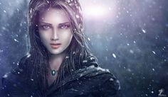 Painting Art Glance Snowflakes Face Girls wallpaper background