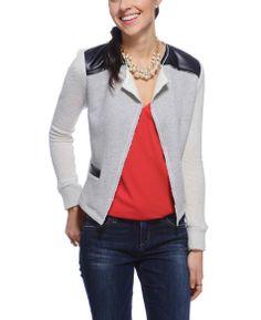 Abbeline Reverse Fleece Cardigan Sweater with Vegan Leather Accents