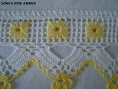 This Pin was discovered by Dür Crochet Dollies, Crochet Lace Edging, Crochet Borders, Crochet Flower Patterns, Thread Crochet, Crochet Trim, Filet Crochet, Crochet Designs, Crochet Yarn