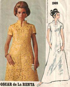 Oscar de la Renta 1960's maxi dress - Vogue vintage sewing pattern - Size 12. $14.95, via Etsy.