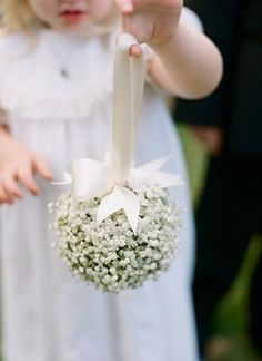 flower ball of baby's breath with cream silk ribbon