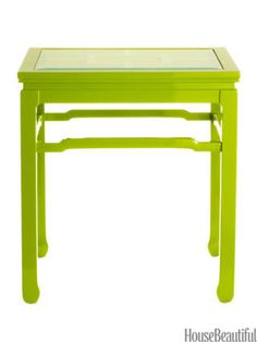 "A classic chinoiserie table, modernized with your choice of five brilliant lacquer colors. Shown: Chinright in Green, 20""W x 24""D x 26""H. $875 at worlds-away.com."