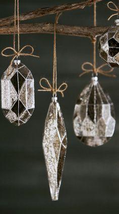Eight Silvered Glass Christmas Ornaments - Neiman Marcus Elegant Christmas, Noel Christmas, Modern Christmas, Glass Christmas Ornaments, Winter Christmas, Handmade Christmas, All Things Christmas, Christmas Crafts, Christmas Decorations