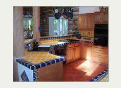 MexicanTiles.com - Mexican Talavera Tile in Kitchen Island Countertop & Backsplash