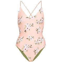 Women's Topshop Posie Reversible One-Piece Swimsuit (€54) ❤ liked on Polyvore featuring swimwear, one-piece swimsuits, swimsuit, swim, bathing suits, body, pink multi, pink swimsuit, reversible bathing suit and swim wear