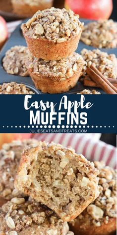These easy Apple Muffins are the perfect recipe for a quick snack or breakfast! They are filled with apples, cinnamon and oatmeal then topped with a streusel! Apple Oatmeal Muffins are the perfect, easy grab and go breakfast! Make this easy apple recipe n Apple Recipes Easy, Easy Holiday Recipes, Healthy Muffin Recipes, Healthy Muffins, Cinnamon Recipes, Fall Recipes, Healthy Foods, Yummy Recipes, Yummy Food
