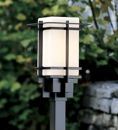"""Hubbardton Forge Outdoor post light with glass options: Tourou, aluminum with square collar (accepts 2.0""""Sq post) Post sold separately"""