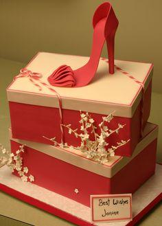 Pink Shoe Box Cake !!! Shoe Box Cake, Shoe Cakes, 50th Cake, 21st Cake, Fondant Shoe Tutorial, Make Up Cake, Mothers Day Cake, Pretty Box, Pastry Cake