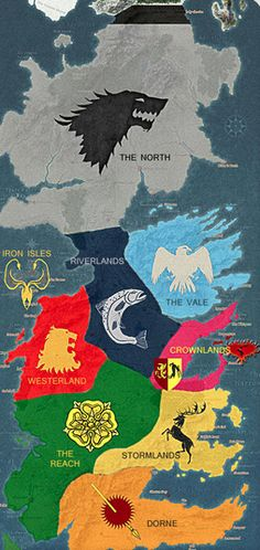 Game of Thrones Map Seven kingdoms
