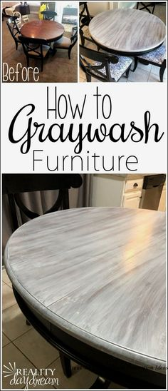 You can pull off this Farmhouse Graywash Technique on your furniture with minimal supplies and DIY experience! Tutorial on Reality Daydream furniture living room Farmhouse Graywash Technique - Reality Daydream Diy Furniture Table, Refurbished Furniture, Farmhouse Furniture, Repurposed Furniture, Furniture Projects, Kitchen Furniture, Rustic Furniture, Furniture Makeover, Furniture Design