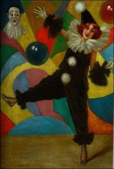 commedia dell'arte  par les grands peintres - Pierrot danse - Archie Gunn (1863-1930)