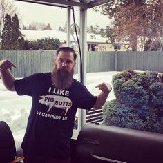 Smoking some ribs in my new BBQ Shirt! Thanks Gina and Tina #traeger #ilikepigbuttsandicannotlie #beardsrule Reposted Via @markupmeyer