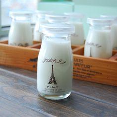 Colored Glass Bottles, Glass Milk Bottles, Small Bottles, Glass Jars, Mason Jars, Milk Packaging, Dessert Packaging, Bottle Packaging, Packaging Design
