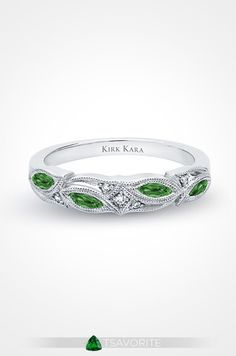 """A gorgeous tsavorite ring and platinum by Kirk Kara is the perfect way to say """"I do!"""""""