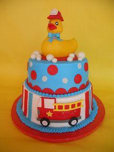 http://cakedecoratingcoursesonline.com/cake-decorating/ Fireman Duckie Baby Shower Cake. #Baby #Shower #Cake #Design - Join Unique #Online Cake #Decorating #Courses on http://cakedecoratingcoursesonline.com now!