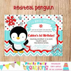 RED/TEAL PENGUIN invitation   You Print by PrettyPartyCreations