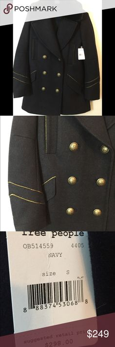 Free People Navy Military Coat Jacket Small NWT Free People military style coat.  New with tags!  Size: small.  Navy with gold piping and buttons. Free People Jackets & Coats Pea Coats