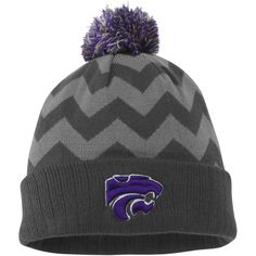89929fa0a49 Women s Kansas State Wildcats Top of the World Gray Chevron Knit Hat