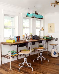 This homeowner converted a vintage blue car into a playful light fixture over her sons' desk.
