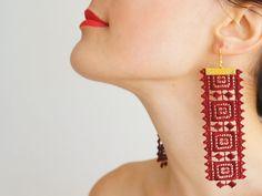 EARRINGS // Maro // Handmade Geometric Lace Earrings  by EPUU, $20.00