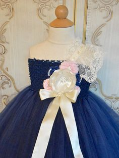 Navy and Pink Flower girl tutu dress by TutuSweetBoutiqueINC